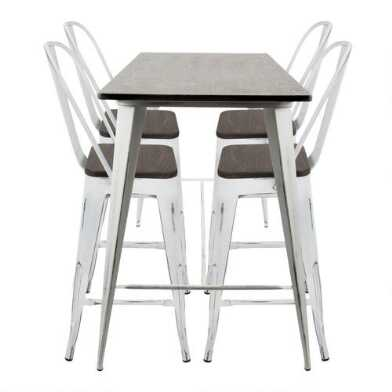 White & Espresso High Back Ridgeby Counter Dining Collection