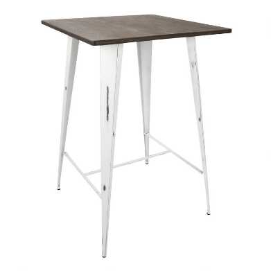 White Metal And Espresso Wood Ridgeby Pub Table