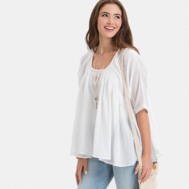 White Drew Embroidered Top