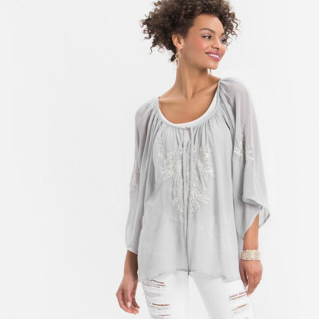 Light Gray Lena Embroidered Top