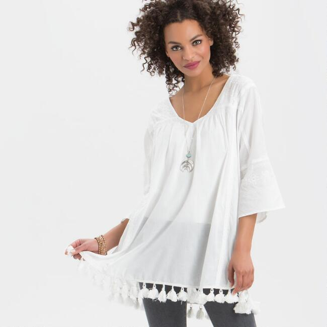 White Lara Embroidered Tunic with Tassels