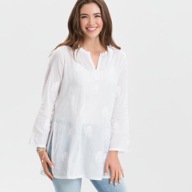 White Sienna Embroidered Tunic