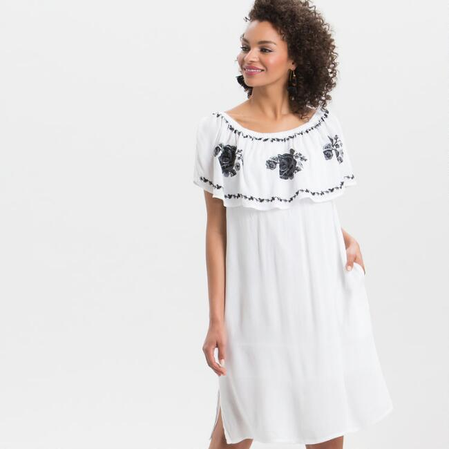 White Rose Embroidered Dress