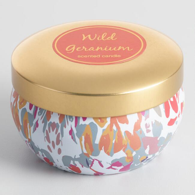 Wild Geranium Flower Candle Tin with Gold Lid
