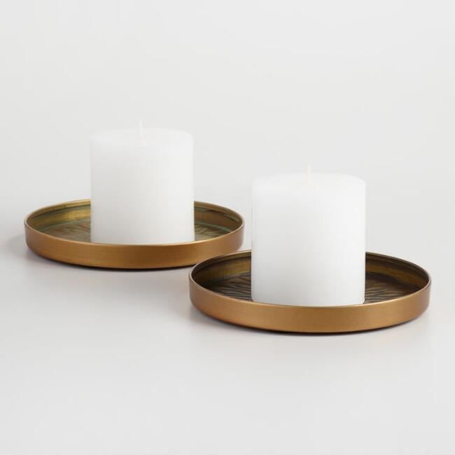 Brass Sunburst Pillar Candle Plate Set of 2