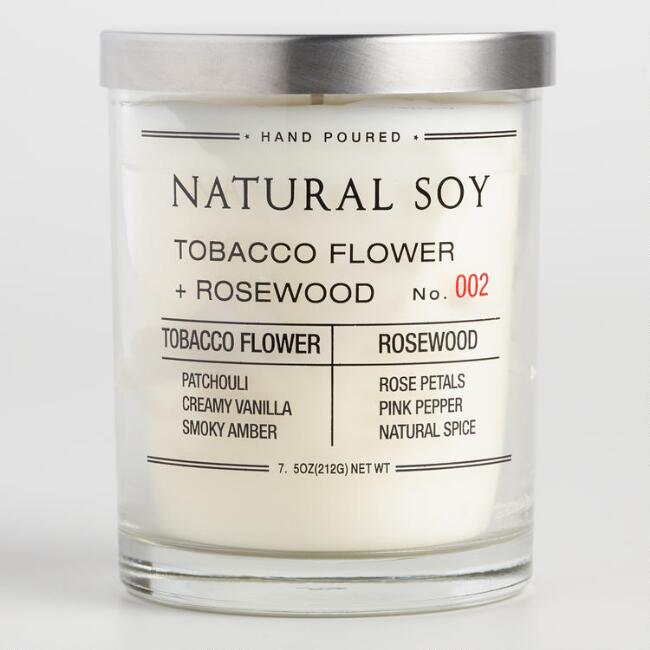 Tobacco Flower and Rosewood Filled Soy Candle