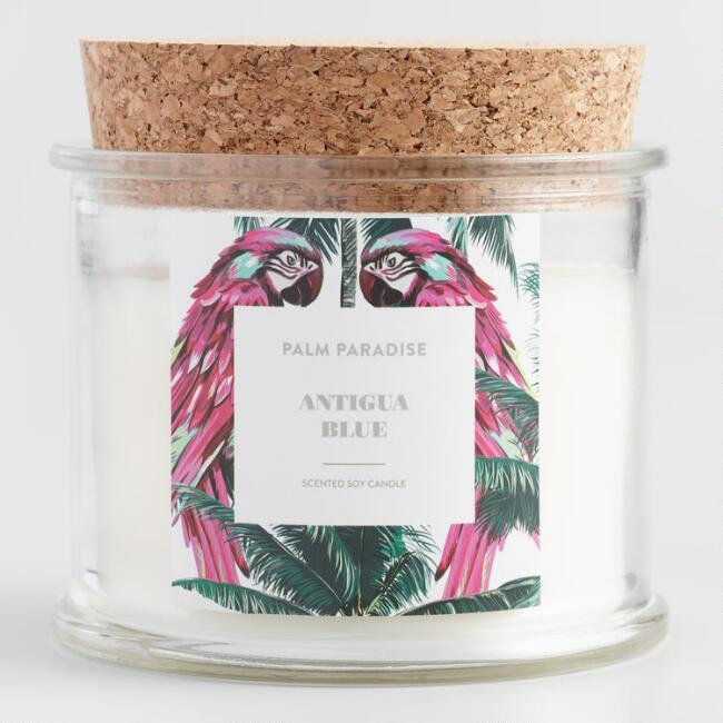 Antigua Blue Parrot Palm Paradise Filled Candle