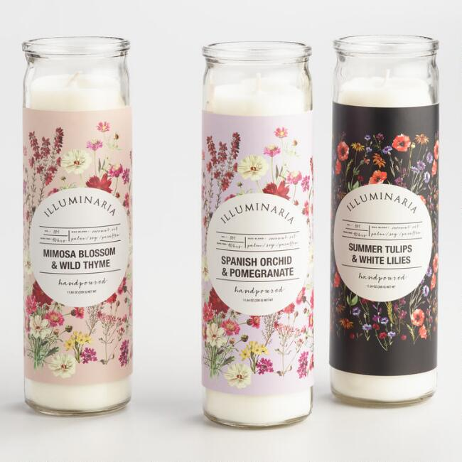 Floral Tall Filled Candle Collection