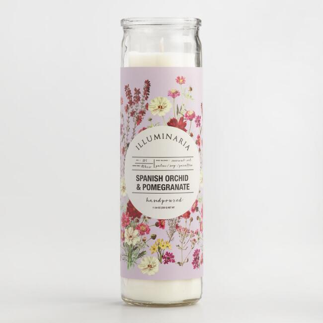 Lavender Spanish Orchid and Pomegranate Tall Filled Candle