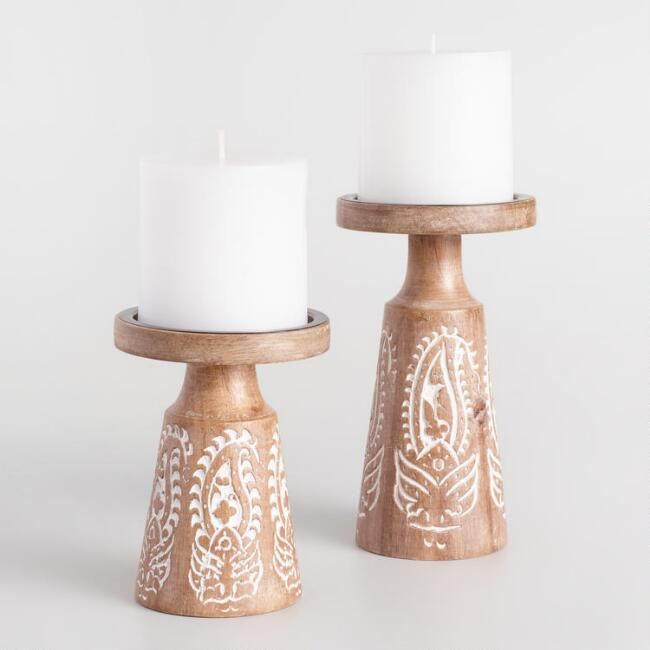 White Carved Wood Pillar Candleholder