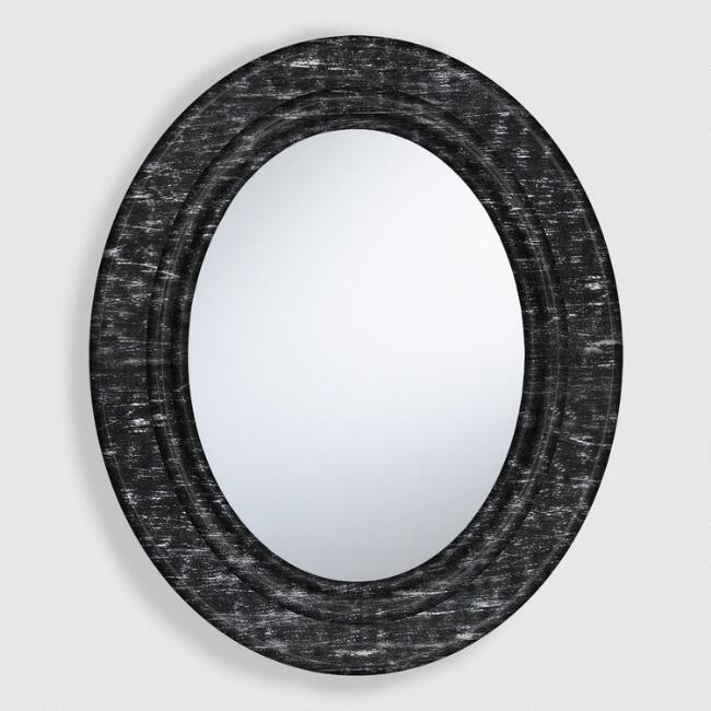 Rustic Wooden Oval Mirror