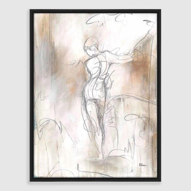 Figure Sketch Framed Canvas Print
