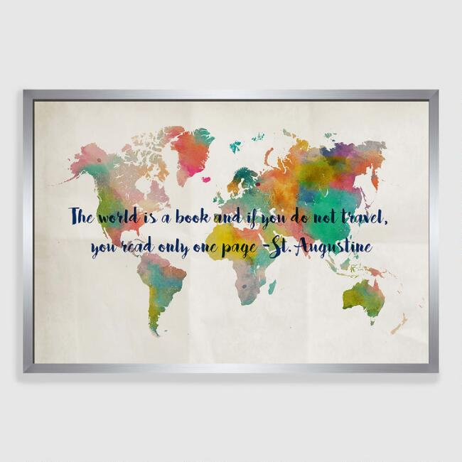 The World Is A Book Travel Map Framed Canvas Wall Art