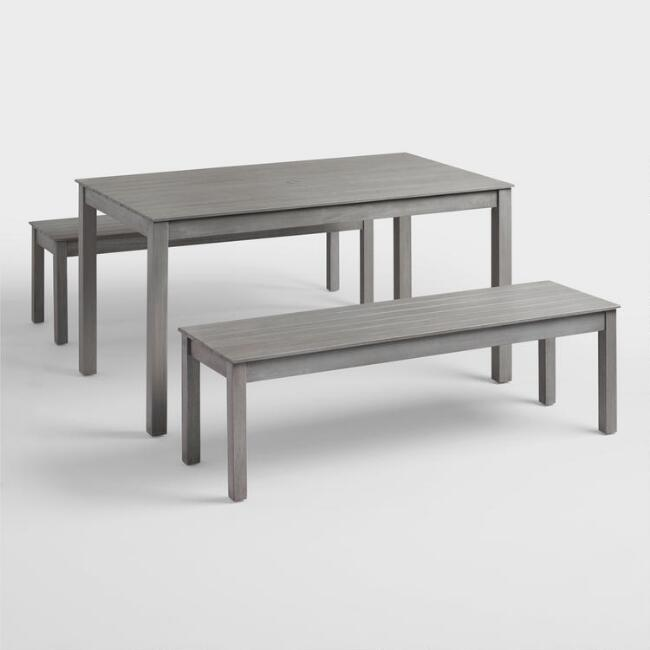 Gray San Pedro Piece Outdoor Dining Furniture Set World Market - Outdoor wood dining table with benches