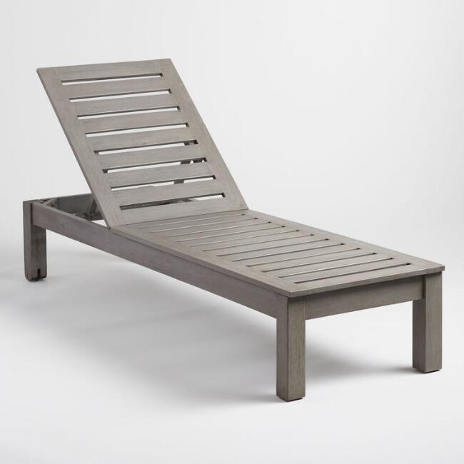 Gray Wood Praiano Outdoor Chaise Lounge