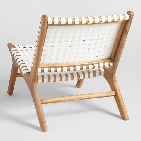 Amazing White Strap Girona Outdoor Accent Chairs Set Of 2 Customarchery Wood Chair Design Ideas Customarcherynet