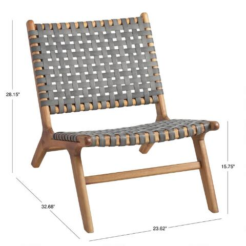 Gray Strap Girona Outdoor Accent Chairs Set Of 2 World