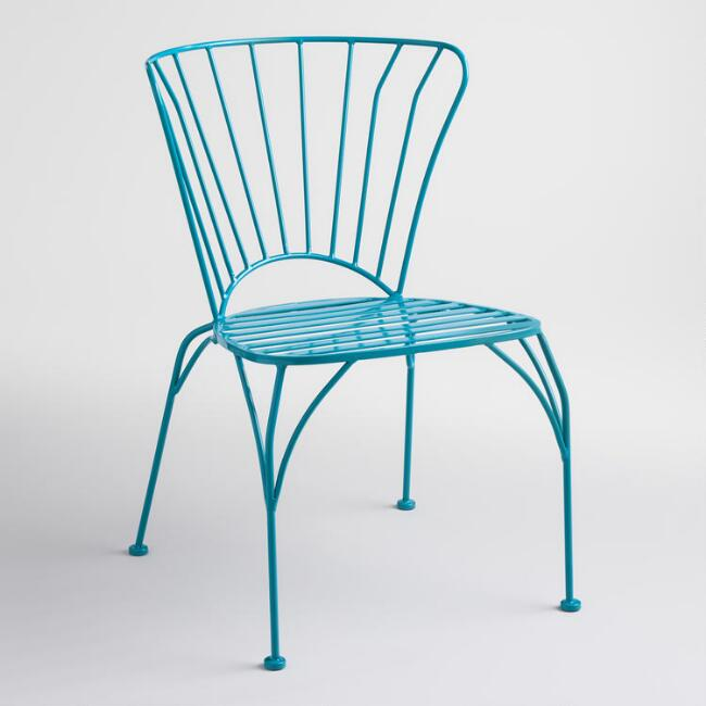 Surf Blue Metal Cadiz Stacking Chairs Set of 2