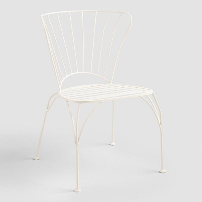 White Metal Cadiz Stacking Chairs Set of 2