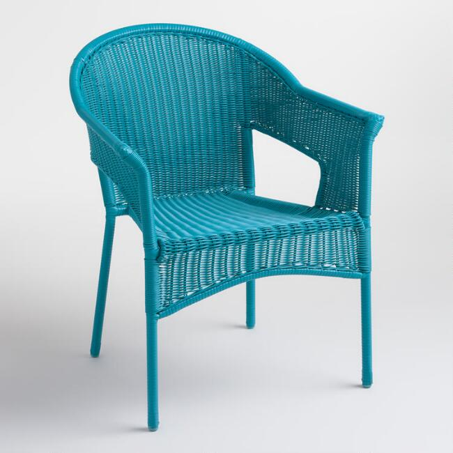 Surf Blue All Weather Wicker Stacking Tub Chairs Set of 2
