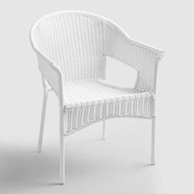 White All Weather Wicker Stacking Tub Chairs Set of 2