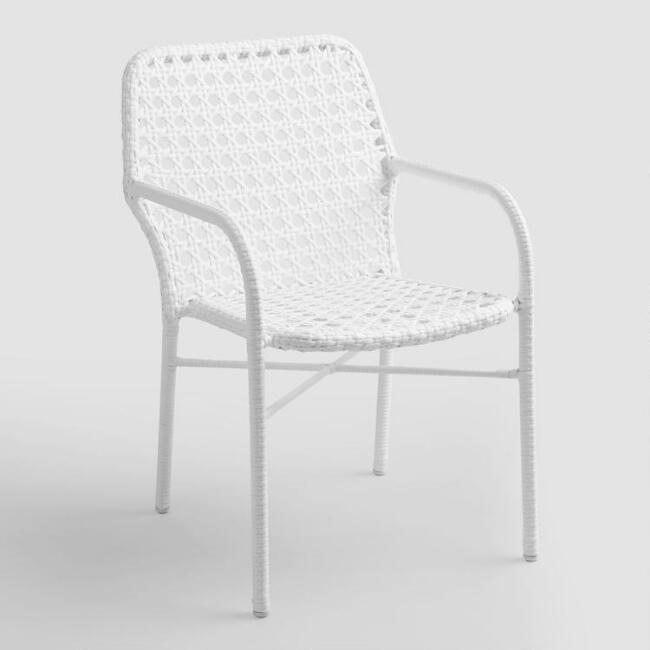 White Tyler Open Weave Stacking Chairs Set of 2
