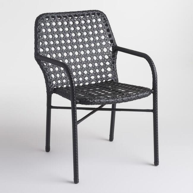 Black Tyler Open Weave Stacking Chairs Set of 2