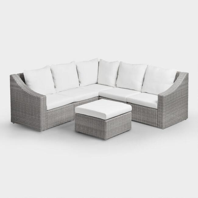 Gray veracruz outdoor sectional sofa world market for Oriental furniture montreal