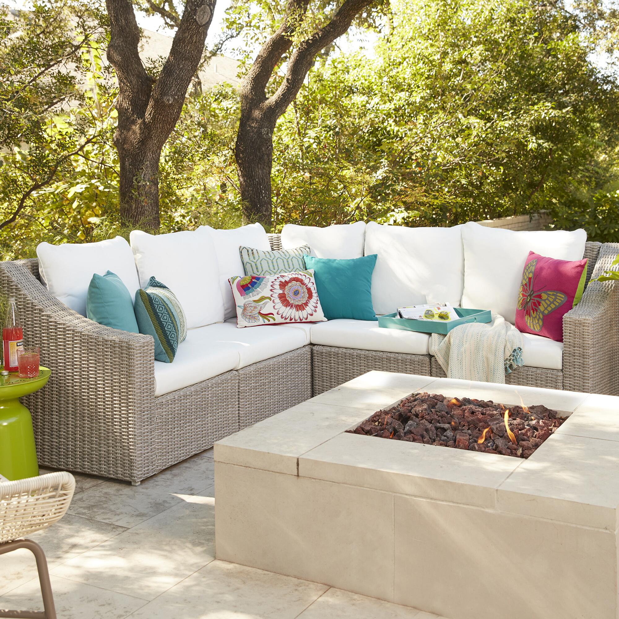 sunbrella dawson spa fabric green piece p outdoor cushions sectional seating sets conversation sectionals patio with ae set