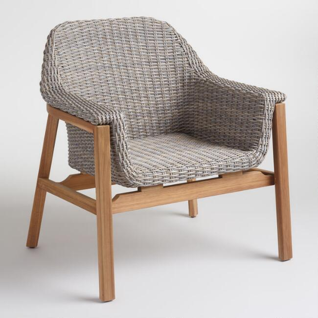 Gray Wicker and Wood Taormina Armchair