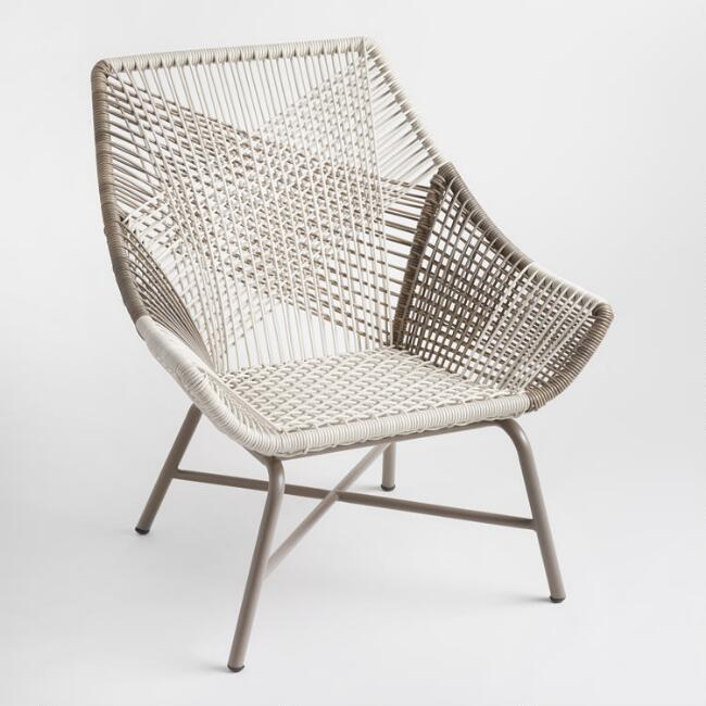 gray woven all weather wicker andalusia outdoor chair world market
