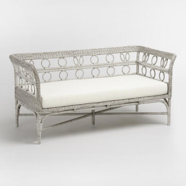 Graywash Handwoven All Weather Wicker Cassis Bench