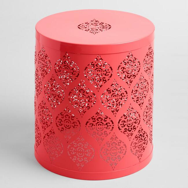 Coral Punched Metal Ophelia Drum Stool
