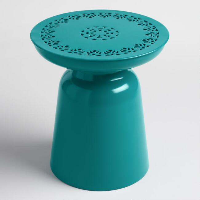 Fanfare Turquoise Punched Metal Dimitri Outdoor Drum Stool