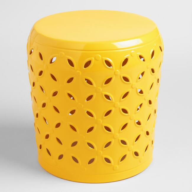 Lemon Yellow Metal Samara Drum Stool