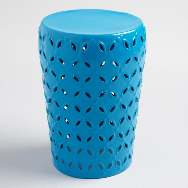 Surf Blue Punched Metal Lili Drum Stool