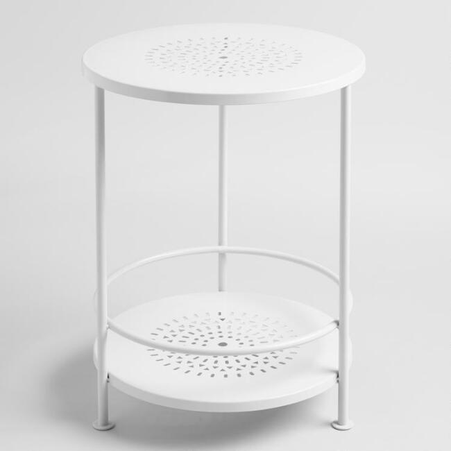 White Metal Marisol Outdoor Accent Table
