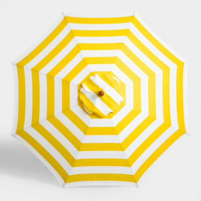 Yellow Awning Stripe 9 ft Umbrella Canopy
