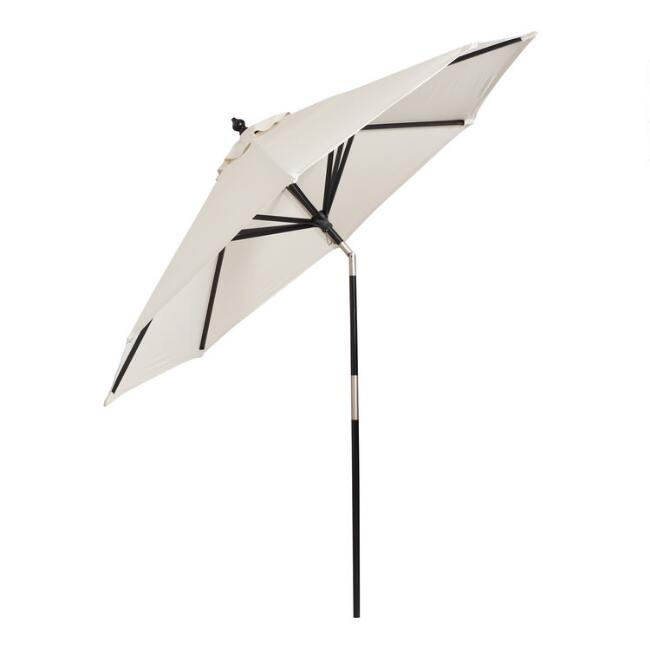 Black Wood Tilting 9 Ft Outdoor Umbrella Frame And Pole