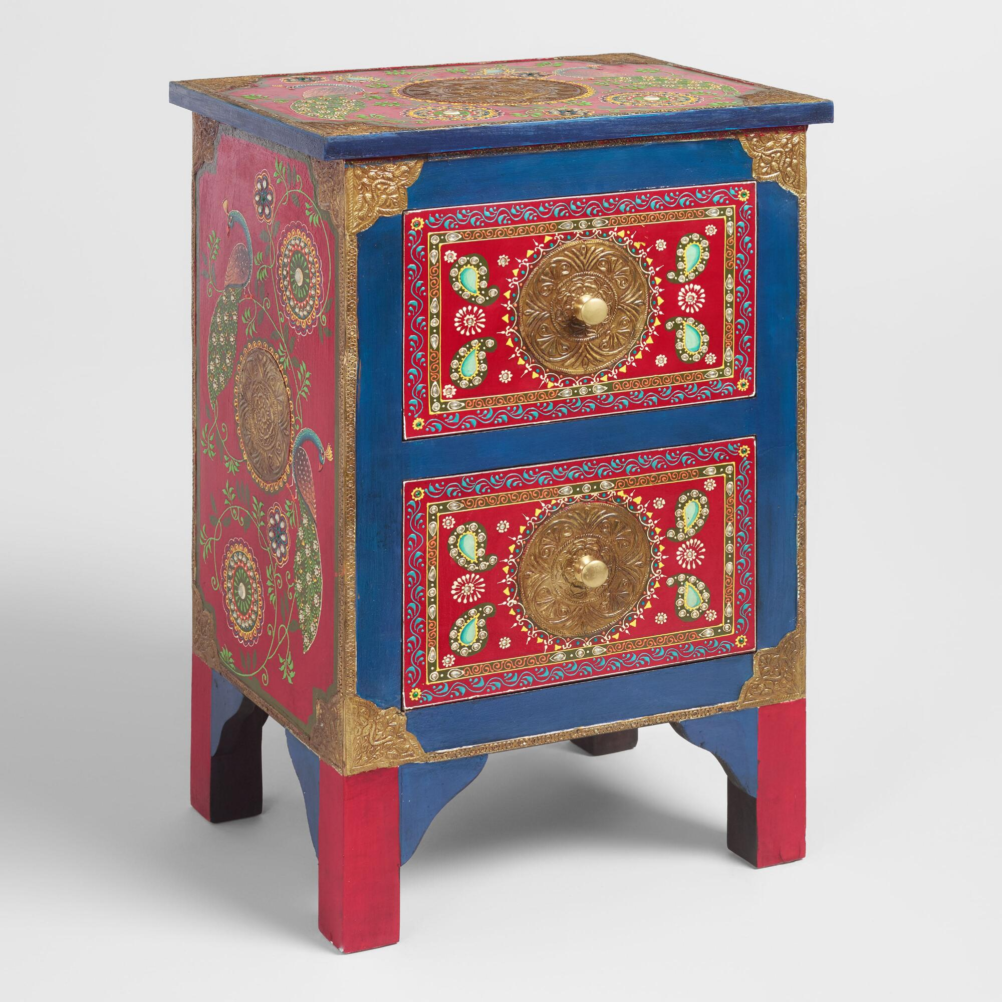 Hand Painted Wood Peacock Storage Cabinet: Blue/Multi by World Market