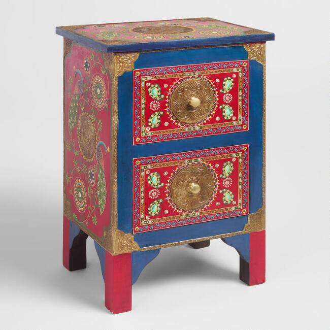Hand Painted Wood Peacock Storage Cabinet