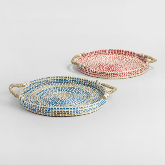 Round Multicolor Seagrass Trays Set of 2
