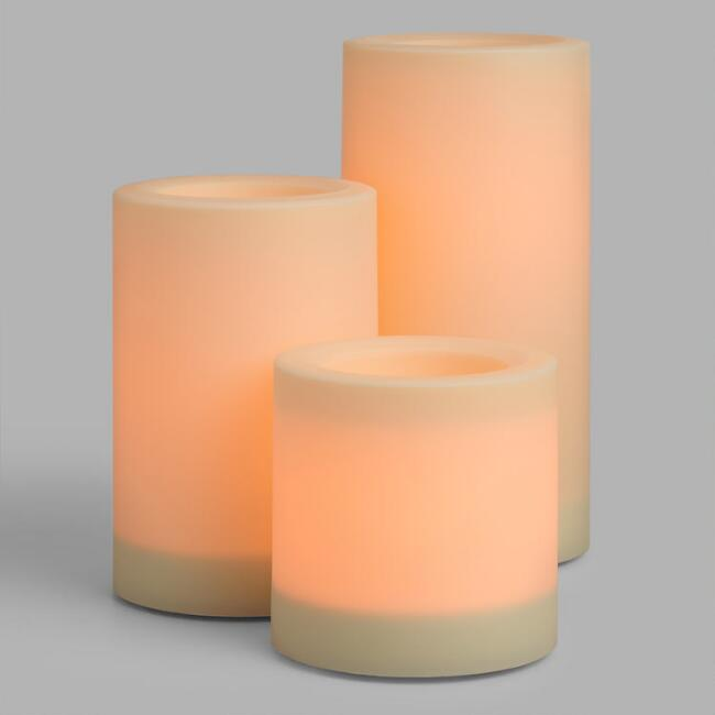 Large Flameless Outdoor LED Pillar Candles