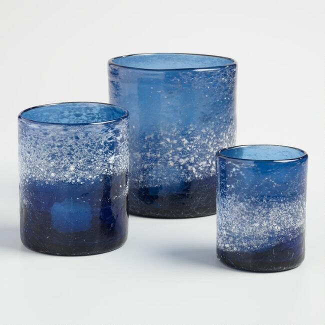 Blue Salt Finish Hurricane Candleholder