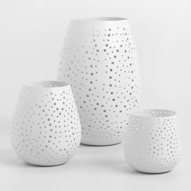 Wht Conical Pierced Dot Hurricane Candleholder