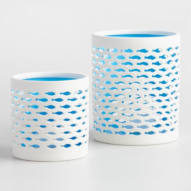 White and Blue Fish Hurricane Candleholder
