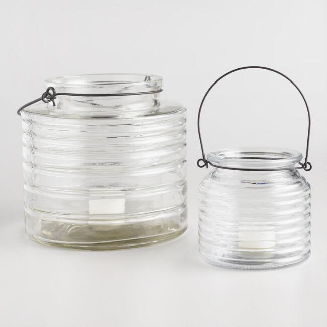 Clear Glass Horizontal Ribbed Lantern