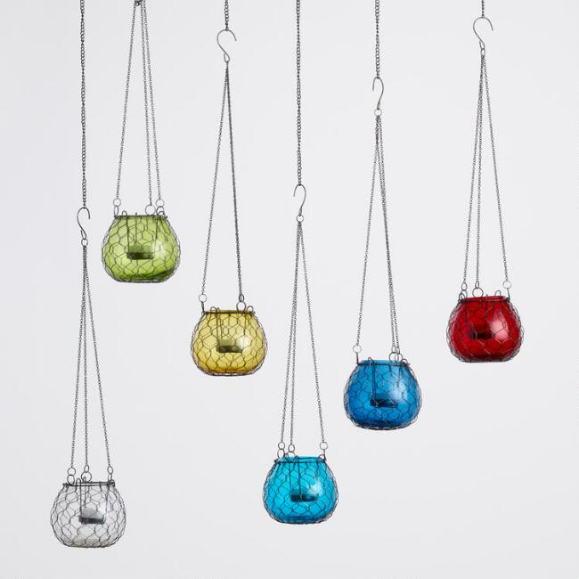 Wire Wrapped Mini Hanging Lantern Set of 6