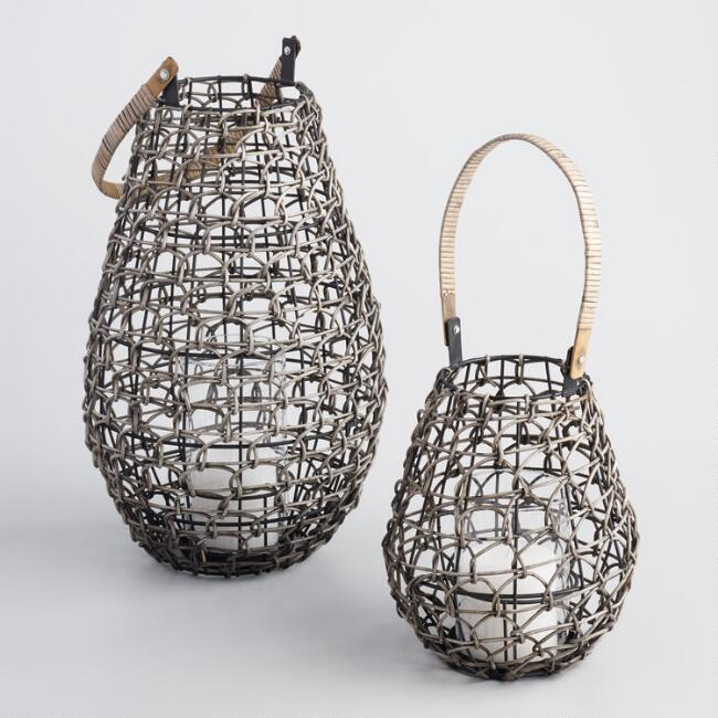 Gray Wash Loop Weave Lantern