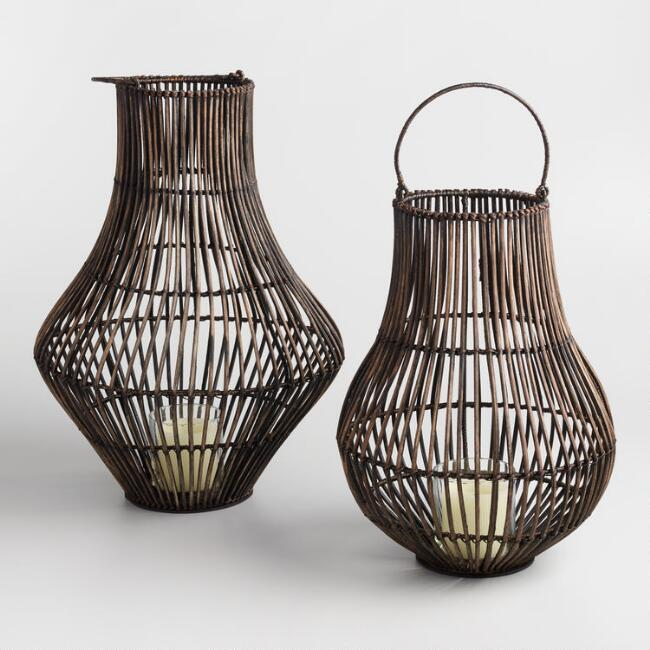 Dark Gray Wash Rattan Bulb Lantern